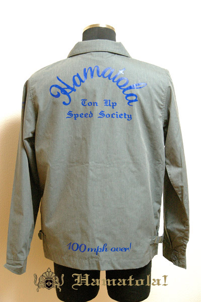 "【HAMATOLA!】Baracuta Type Jacket ""Ton Up Speed Society"" Rat Gray Back Style."
