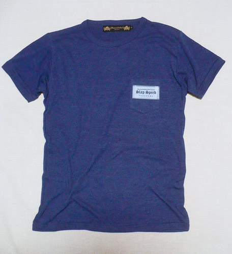 "【SLAP SPEED】""BOX LOGO"" Pocket T-SHIRTS Denim Blue×White"