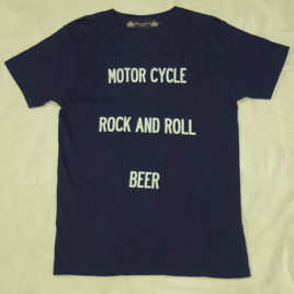 "【HAMATOLA!】""Motorcycle-R&R-Beer"" V-Neck T-Shirts (Navy)"