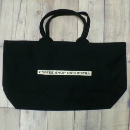 "【Alpha Betti Cafe×HAMATOLA!】collab Line ""Coffee Shop Orchestra""  Canvas Zip Tote Bag (Black)"