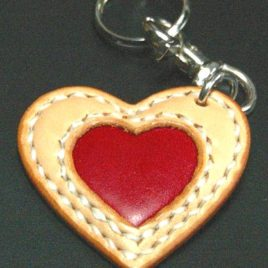 【FLAT FIELD】LEATHER KEY RING / NATURAL×RED