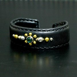 【FLAT FIELD】LEATHER BANGLE(Bracelet) STUDS×GREEN